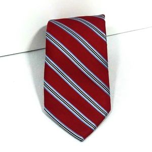 Nautica silk tie red with blue gold black stripes